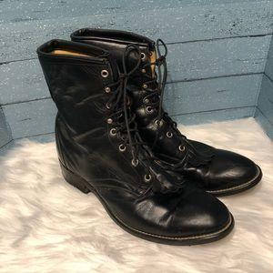 Laredo lace up black leather boots